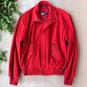Members Only Vintage Red Felt Bomber Jacket